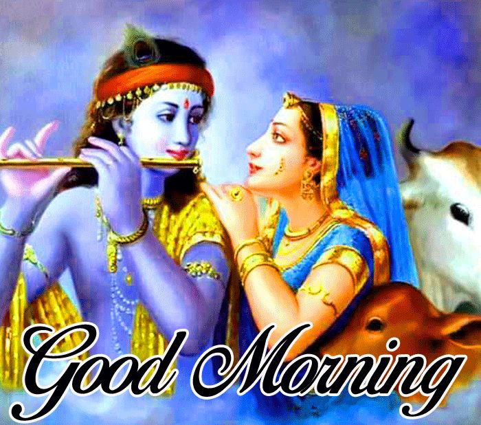 Good Morning Radhe Krishna images with painting hd download