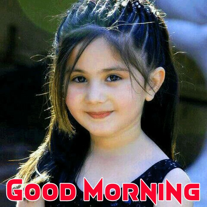 cute little girl with good morning wish