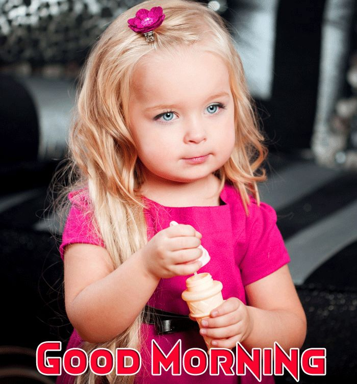 good morning wishes with cute girl image