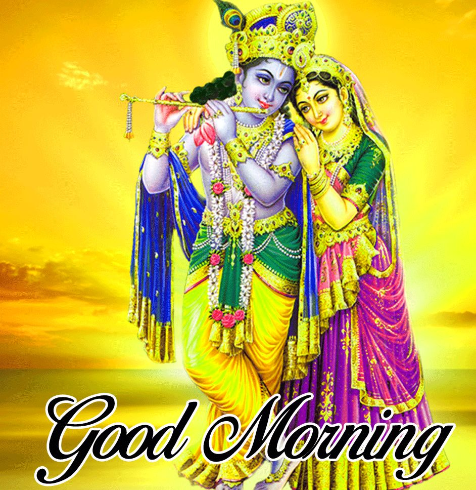 images with yellow background Good Morning Radhe Krishna hd download
