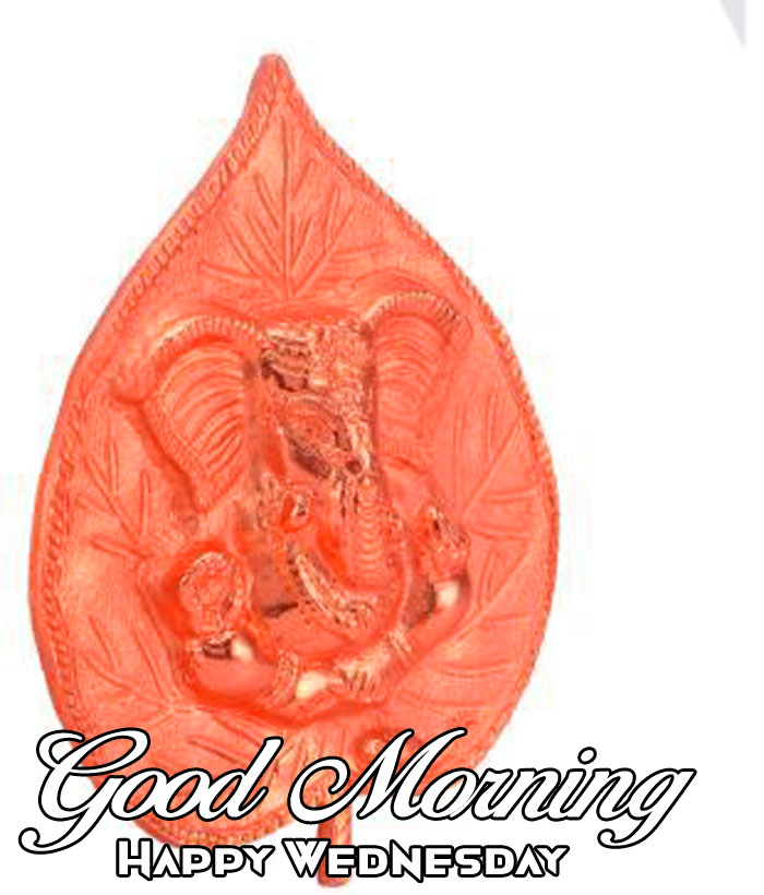red leaf in Ganesha Good Morning Happy Wednesday images
