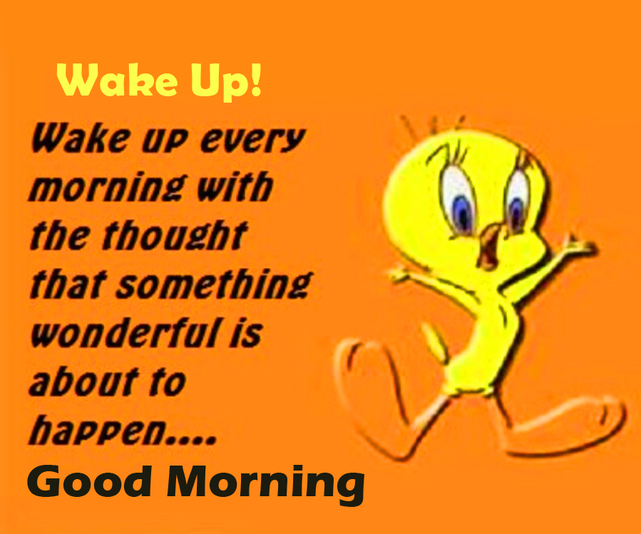 Cartoon with Wake Up Good Morning Message