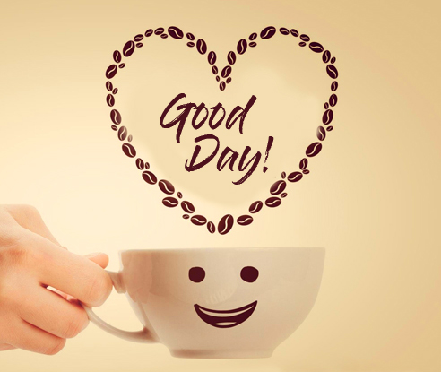 Coffee Beans Heart with Good Day Wish