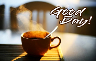 Coffee in Sunshine with Good Day Wish