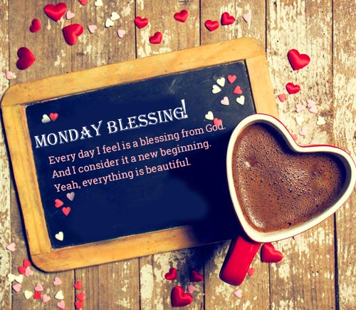 Coffee with Beautiful Monday Blessing Image