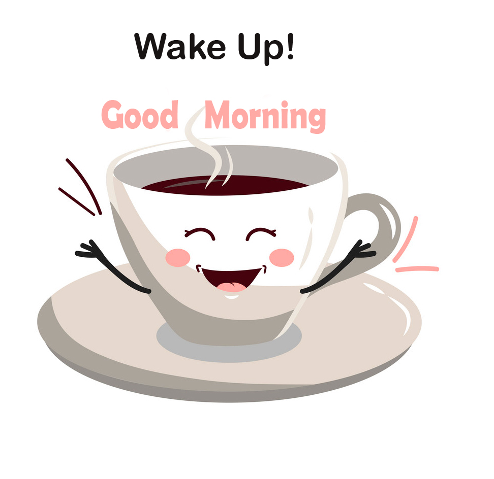 Cute Coffee Cup Wake Up Good Morning Sticker Pic