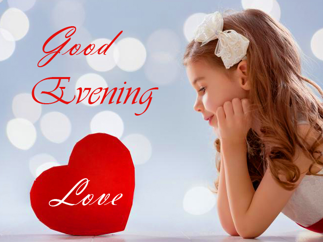 Cute Girl with Heart and Good Evening Love Wish