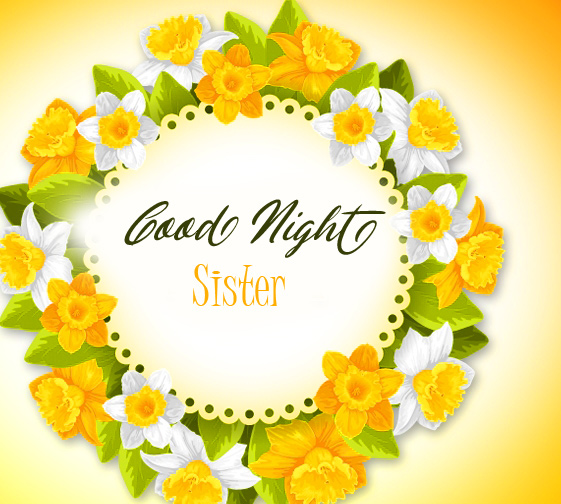 Floral Best Good Night Sister Wish