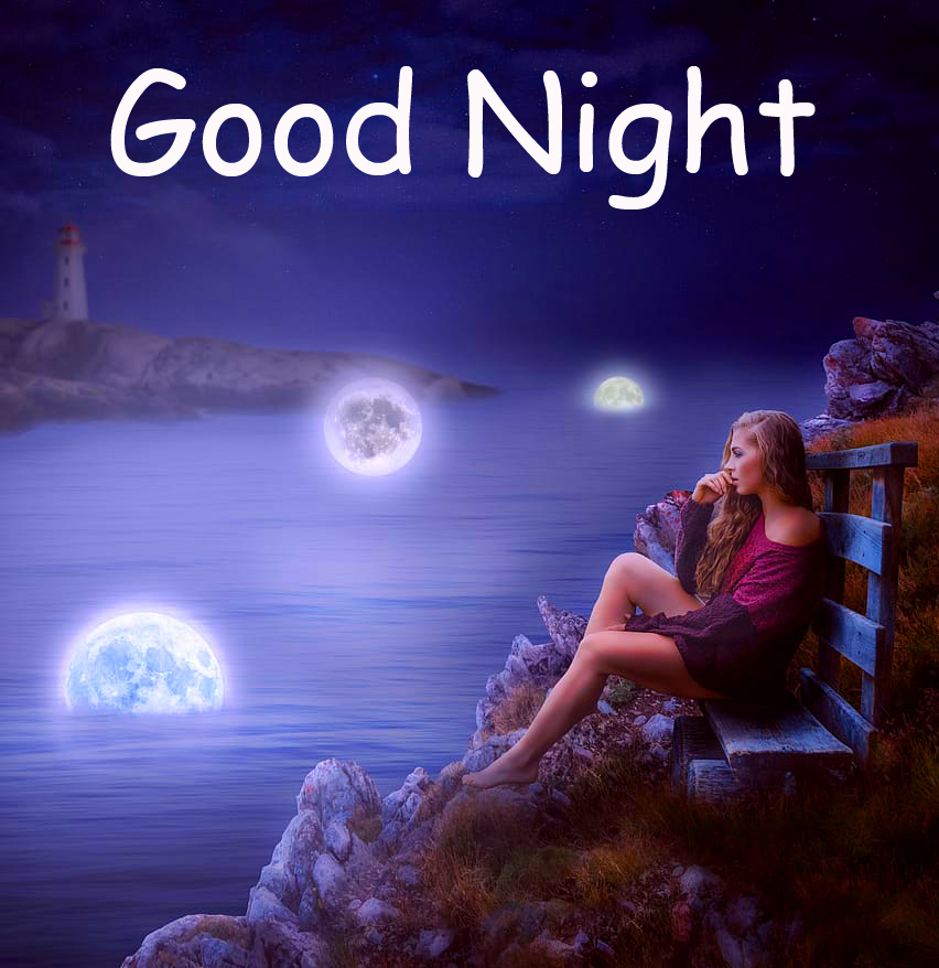 Girl with Moon and River Good Night Picture