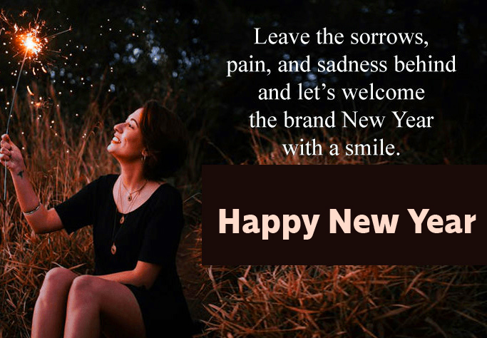 Girl with Sparkle and Happy New Year Wish