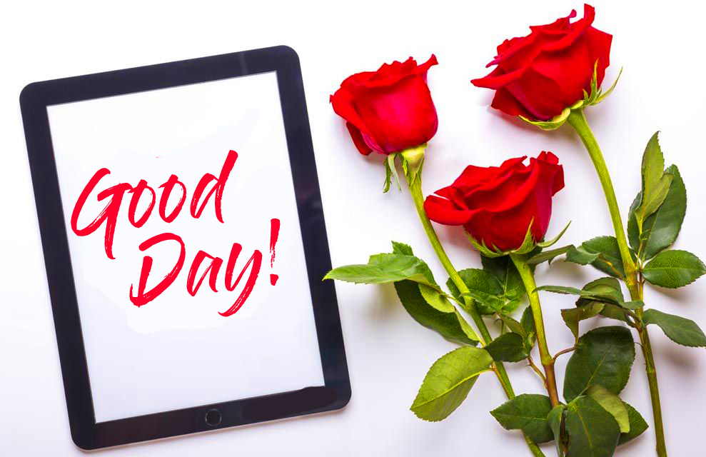 Good Day Card with Red Roses