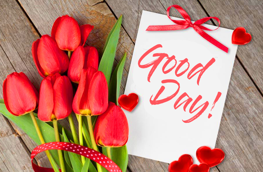 Good Day Card with Red Tulips