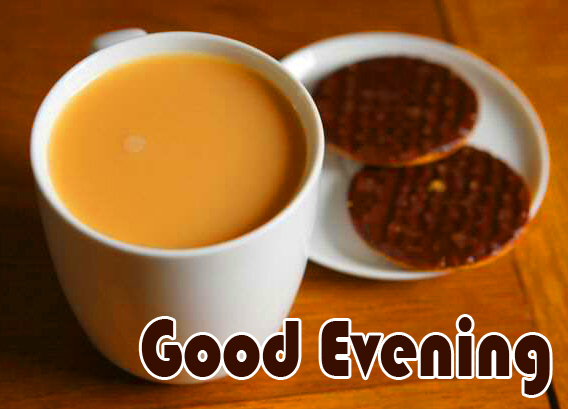 Good Evening Wish with Tea Cup Image