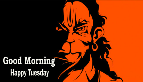 Good Morning Happy Tuesday Wish with Lord Hanuman Pic