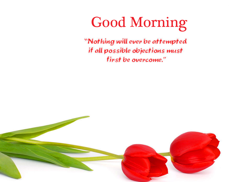 Good Morning Wish with Flowers and Motivational Quotes