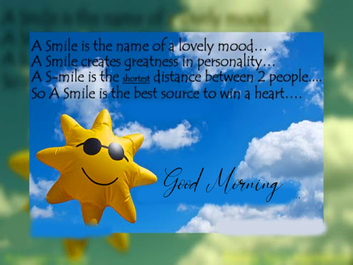 Good Morning Wish with Smile Quotes Pictue