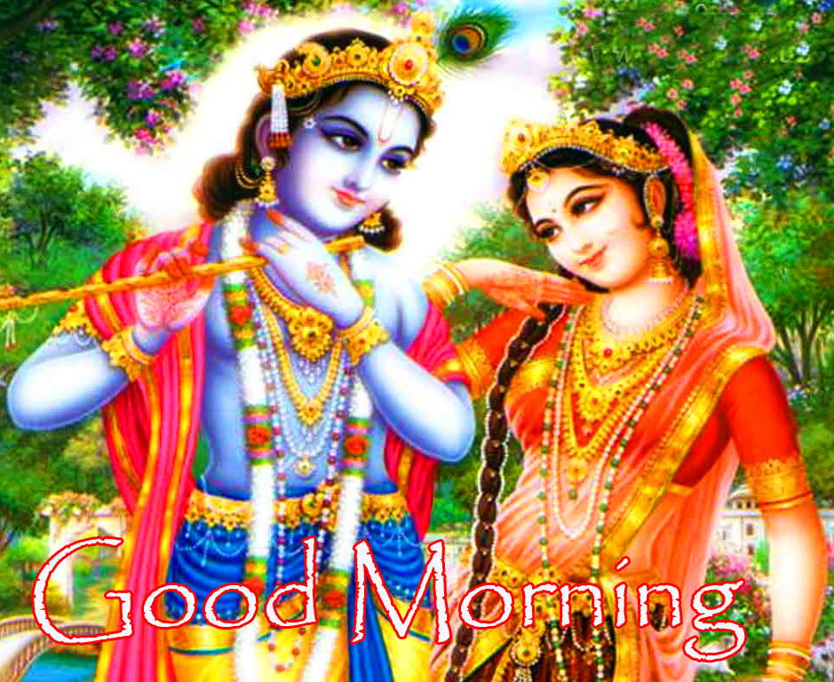 Good Morning withRadha and Krishna Wallpaper