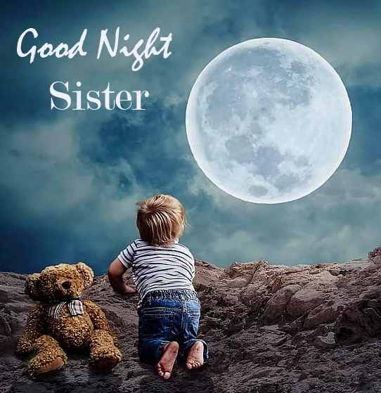 Good Night Sister Wish with Baby Girl and Teddy