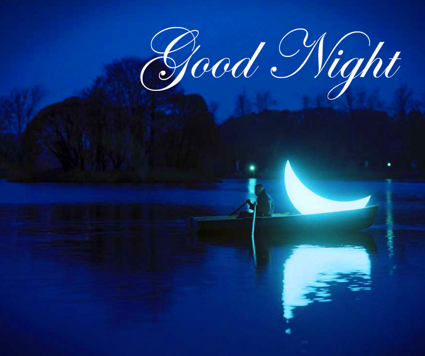 Good Night Wish with Curved Moon and River