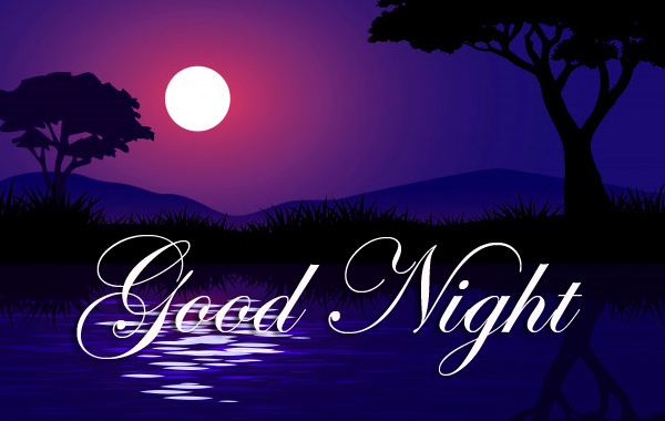 Good Night with Beautiful River and Moon Scenery