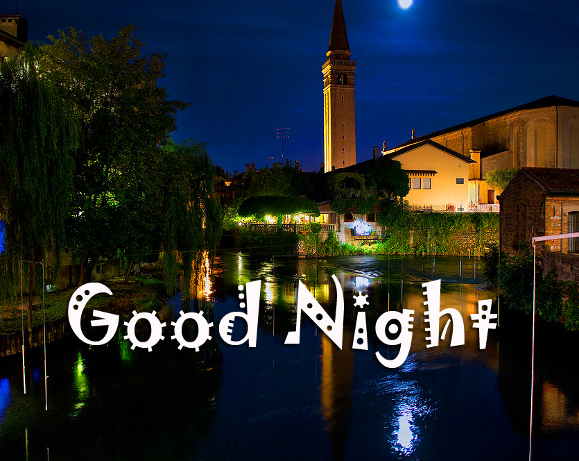 Good Night with River and Moon Pic