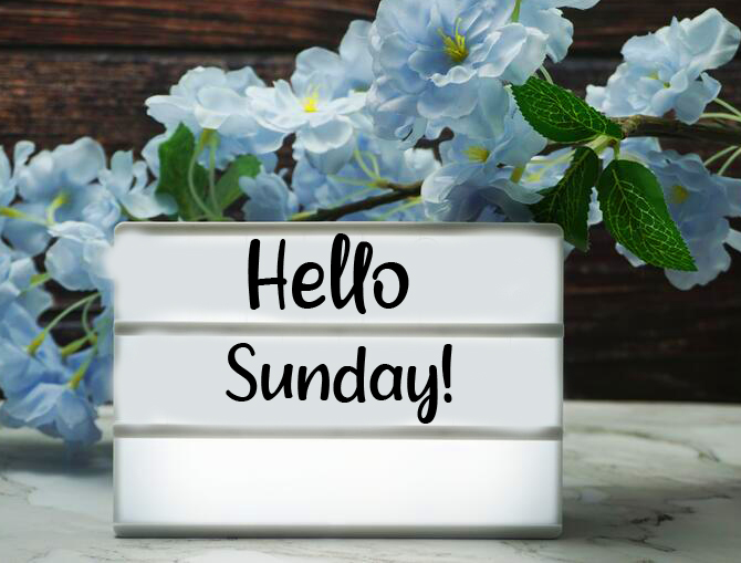 HD Hello Sunday Card with Flowers
