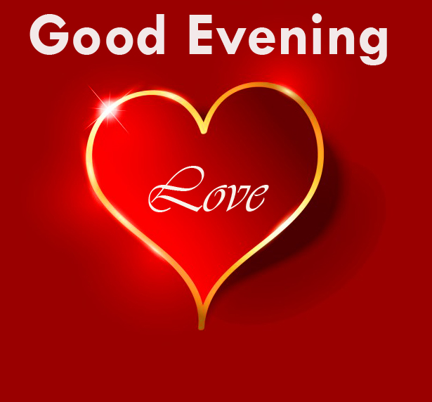HD Red Heart Good Evening Love Image