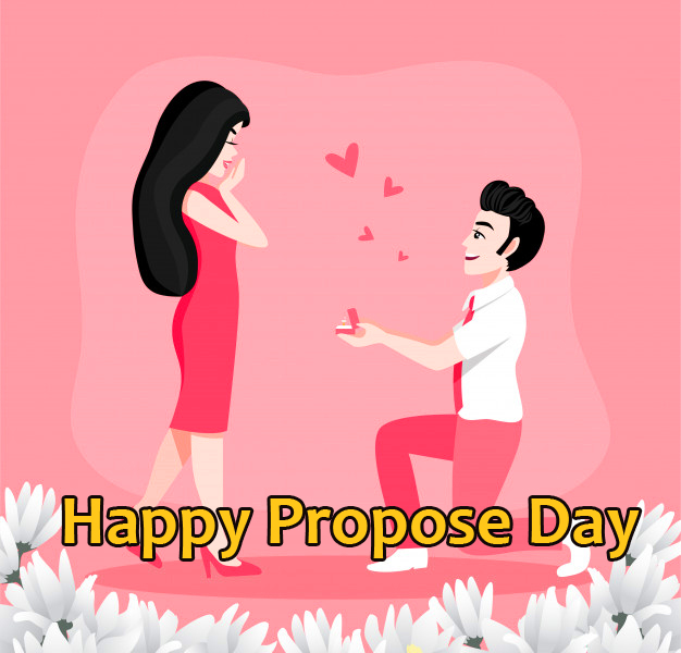 Happy Propose Day Wish with Cartoon Couple
