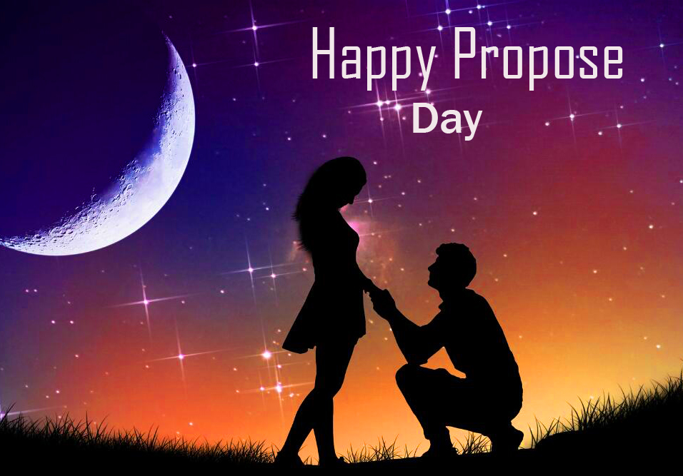 Happy Propose Day Wish with Romantic Couple Pic