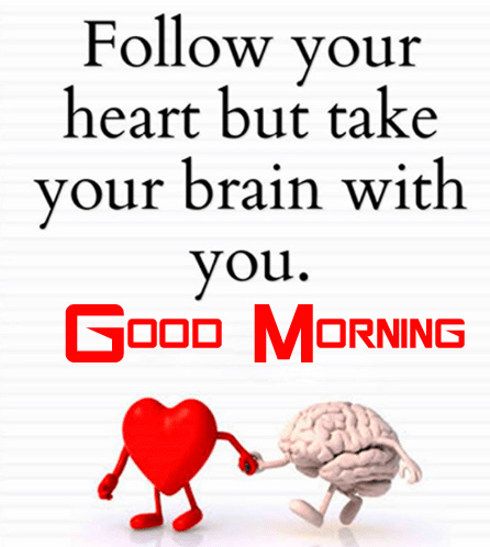 Heart and Brain Thought with Good Morning Wish