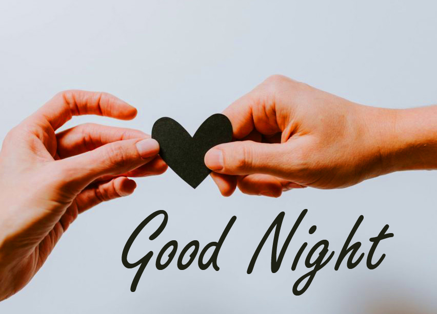 Heart in Couple Hands with Good Night Message