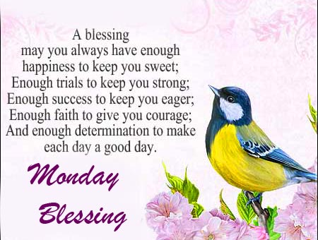 Lovely Bird with Monday Blessing Message
