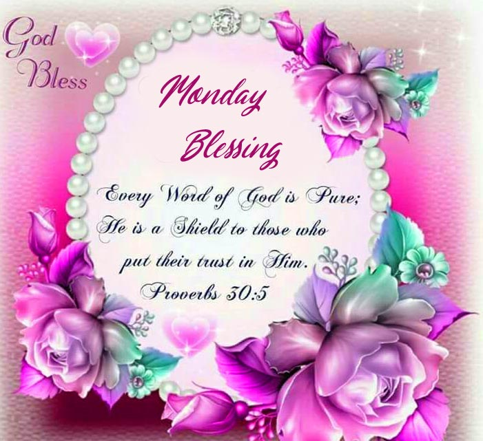 Monday Blessing Floral Wish Wallpaper