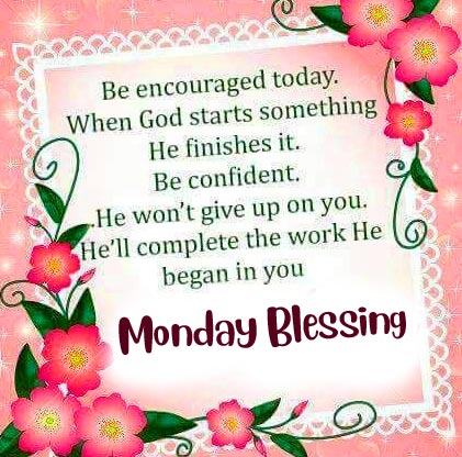 Monday Blessing Flowers Wish and Message Pic