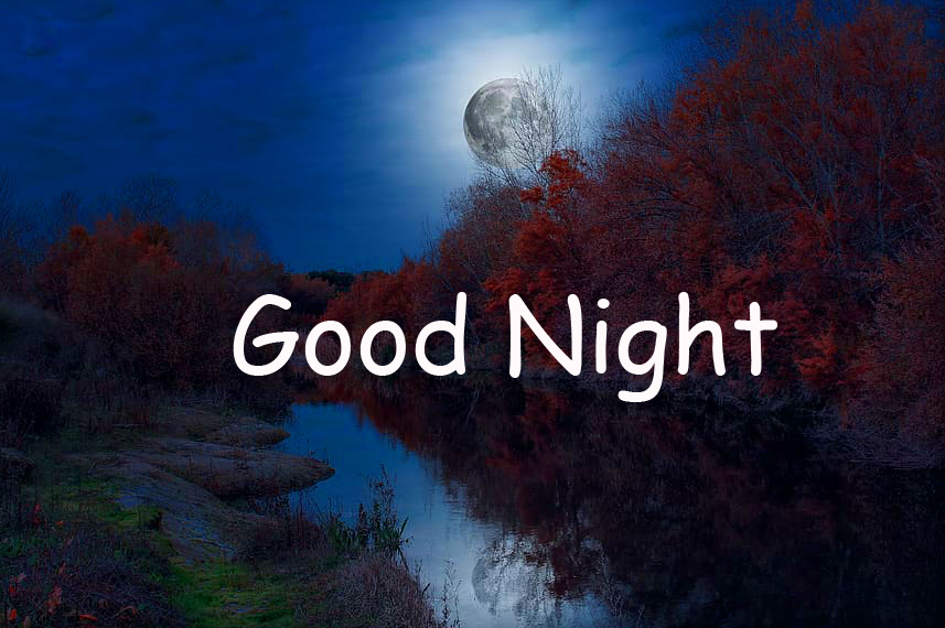 Moon and River Landscape Good Night Image HD