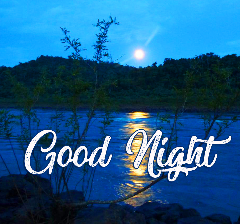 Moon and River Landscape Good Night Wallpaper
