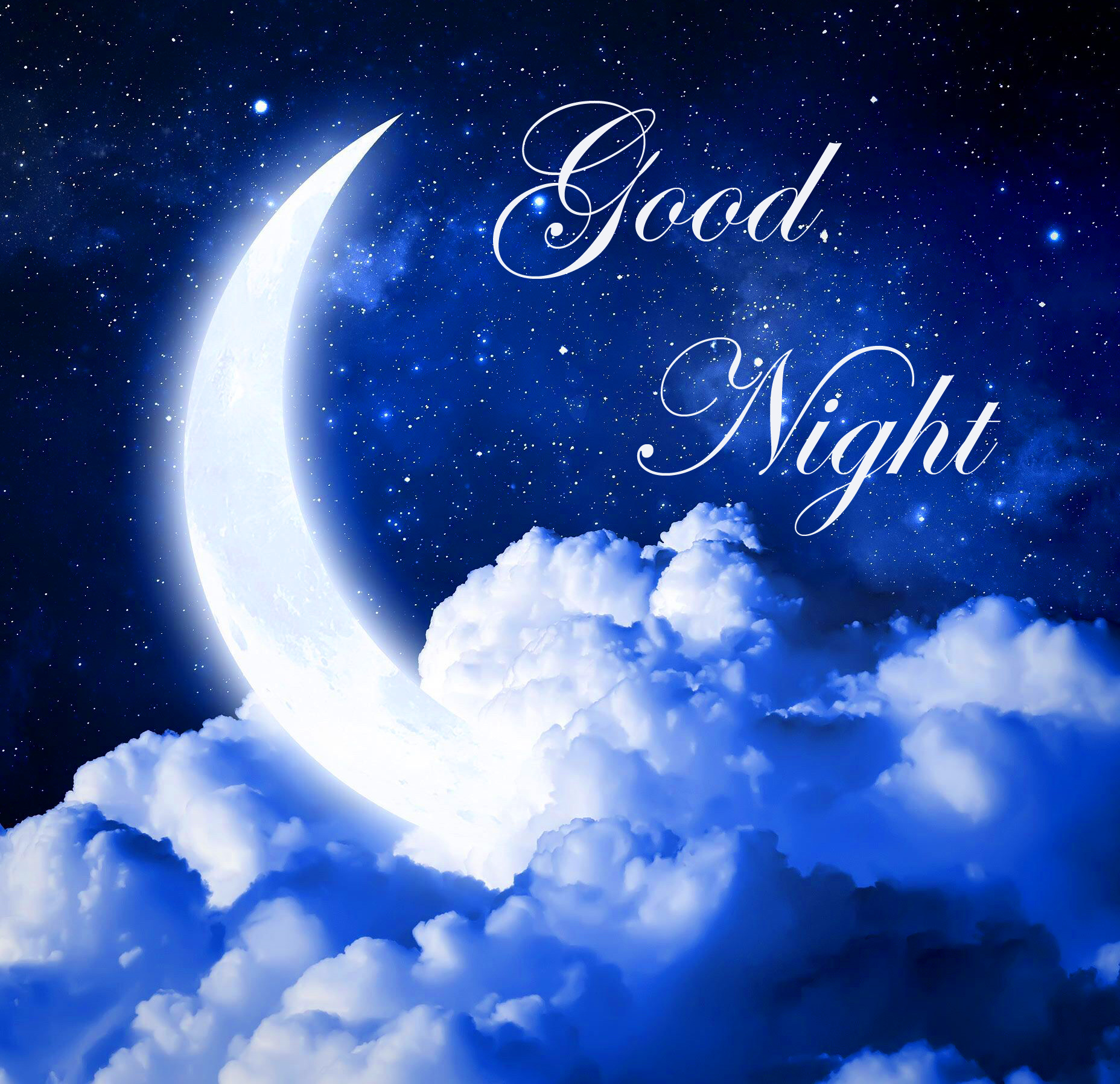 Moon on Clouds with Best Good Night Wish