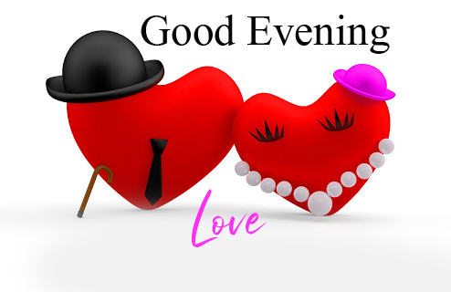 Mr and Mrs Heart with Good Evening Love Message