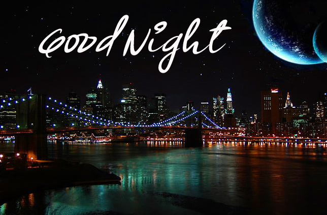 Night Sky with Moon and River Good Night Picture