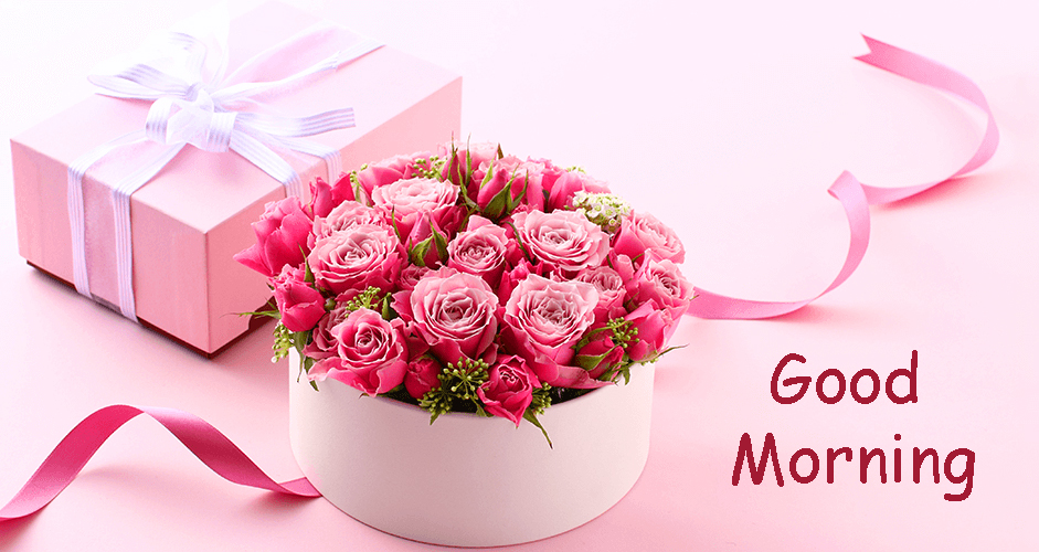 Pink Flowers with Good Morning Wish