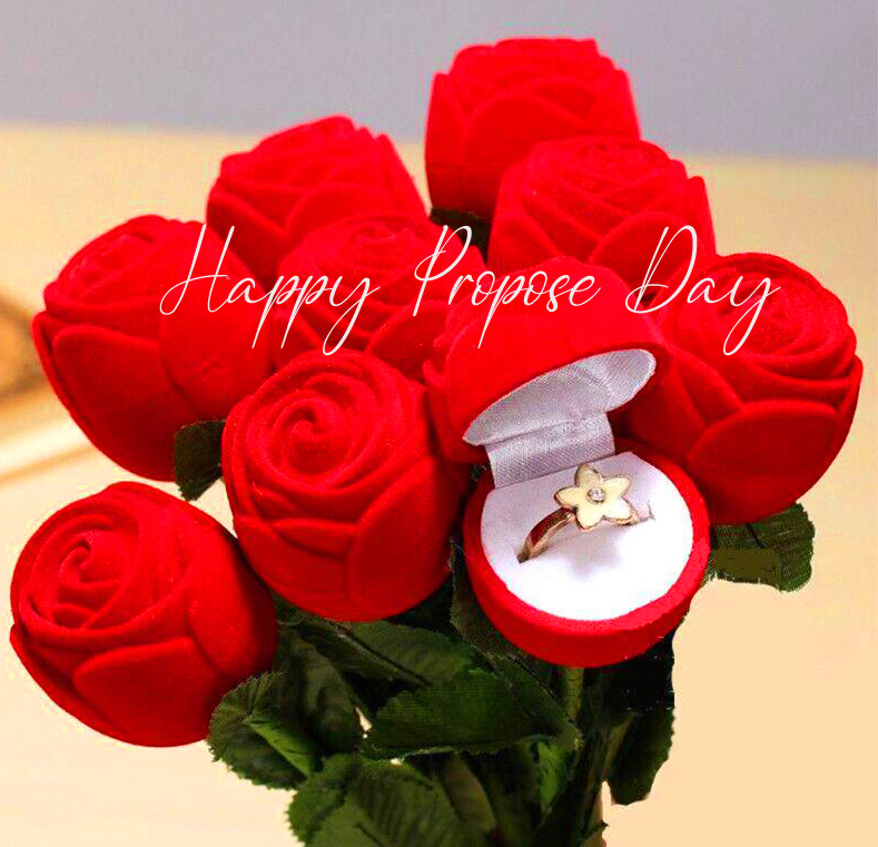 Red Roses with Ring and Happy Propose Day Wish