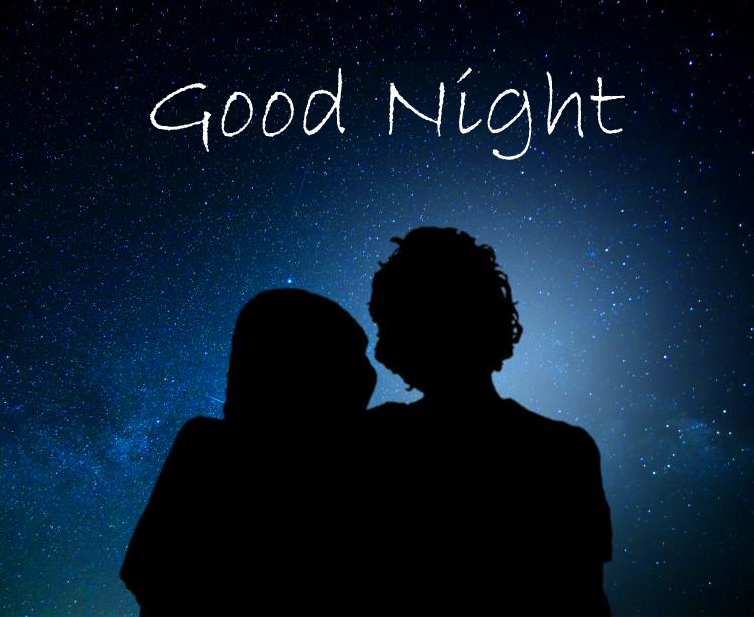 Romantic Couple in Moonlight with Good Night Wish