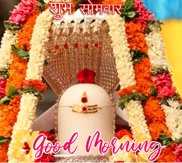 Shivling with Beautiful Flowers and Subh Somwar Good Morning Wish