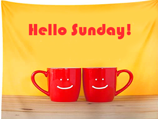 Smiley Coffee Cup with Hello Sunday Wish