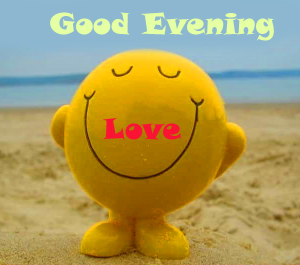 Smiley Face with Good Evening Love Wish