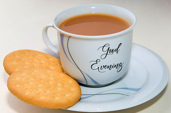 Tea and Biscuit with Good Evening Wish