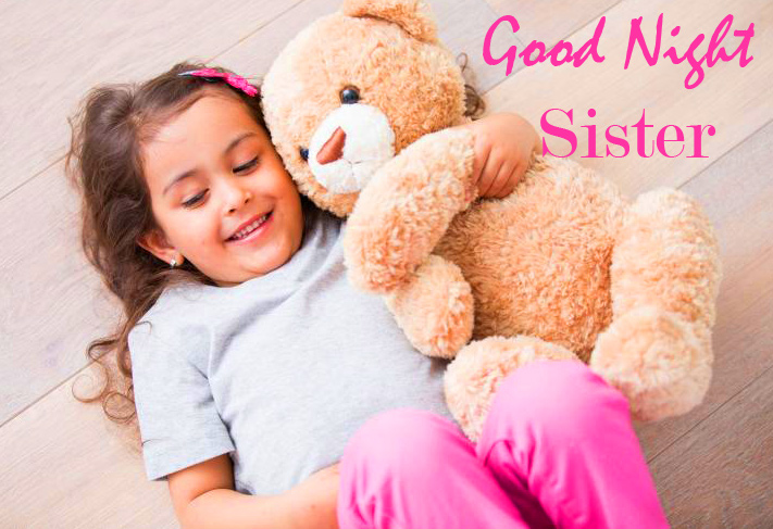 Teddy Bear with Cute Girl and Good Night Sister Message