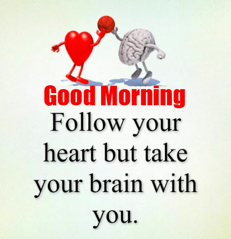 Thought of Heart and Brain with Good Morning Wish