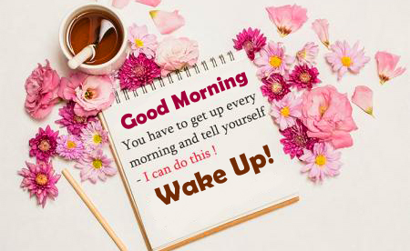 Wake Up Good Morning Wish Card with Flowers