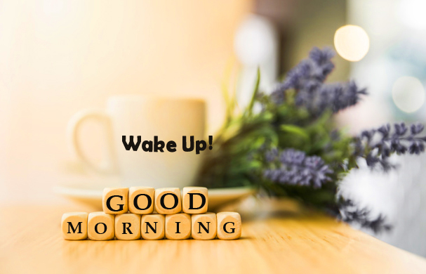 Wake Up Good Morning Wish with Wooden Cubes and Flowers